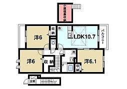 近鉄大阪線 大福駅 徒歩10分の賃貸アパート 2階3LDKの間取り