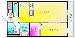 ドミソレイユ4 2階1LDKの間取り