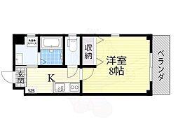 JR大阪環状線 西九条駅 徒歩8分の賃貸マンション 4階1Kの間取り