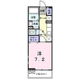 伊予鉄道横河原線 福音寺駅 徒歩16分の賃貸アパート 2階1Kの間取り