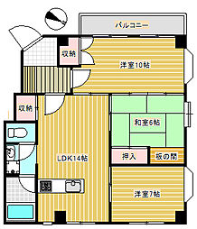 パレス成城[3階]の間取り