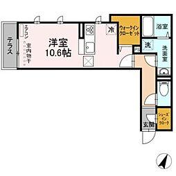(仮称)おおたかの森北1丁目PJ 1階ワンルームの間取り