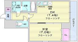 JR仙山線 東北福祉大前駅 徒歩13分の賃貸マンション 5階1DKの間取り