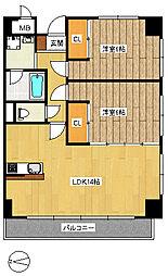 JR仙石線 榴ヶ岡駅 徒歩3分の賃貸マンション 2階2LDKの間取り