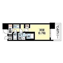 名古屋市営鶴舞線 上前津駅 徒歩5分の賃貸マンション 2階1Kの間取り
