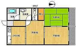 シティハイツ千本南[4階]の間取り