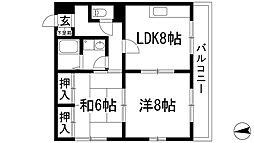 兵庫県川西市栄町の賃貸マンションの間取り