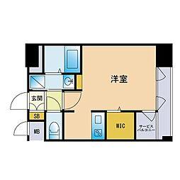 エンクレスト博多GATE 8階ワンルームの間取り