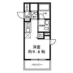 チェンテナリオ渋谷 3階1Kの間取り