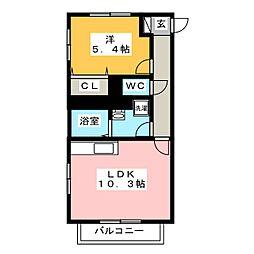 静岡県沼津市市場町の賃貸マンションの間取り