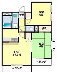 愛知県豊田市東山町2丁目の賃貸アパートの間取り