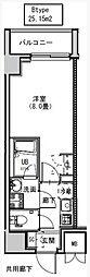 都営大江戸線 両国駅 徒歩6分の賃貸マンション 8階1Kの間取り