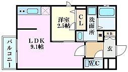 月光南観音壱番館 3階1LDKの間取り