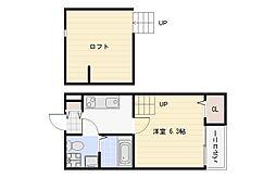 Osaka Metro谷町線 長原駅 徒歩10分の賃貸アパート 1階1Kの間取り