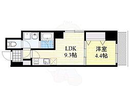 ウイング赤坂 6階1LDKの間取り