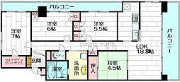 ライオンズマンション茨木[4階]の間取り