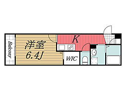 JR総武線 西千葉駅 徒歩14分の賃貸マンション 2階1Kの間取り