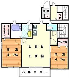福岡県宗像市河東の賃貸アパートの間取り