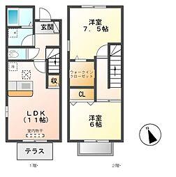 [テラスハウス] 愛知県名古屋市緑区大根山1丁目 の賃貸【/】の間取り