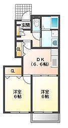 JR赤穂線 西大寺駅 バス10分 金岡下車 徒歩7分の賃貸アパート 1階2DKの間取り