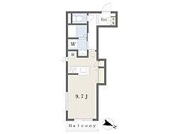 JR横浜線 大口駅 徒歩5分の賃貸マンション 2階ワンルームの間取り