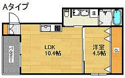 フレイランス中加賀屋[2階]の間取り
