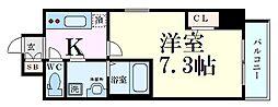 ファーストフィオーレ江坂グレイス 8階1Kの間取り