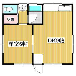 松川細野平屋 1DKの間取り