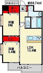 (仮称)中井5丁目賃貸マンション 3階2LDKの間取り