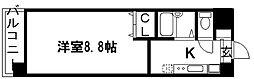 京都府京都市上京区四番町の賃貸マンションの間取り