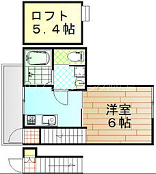広島電鉄宮島線 修大協創中高前駅 徒歩9分の賃貸アパート 2階1Kの間取り
