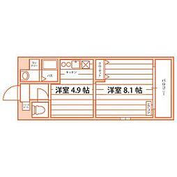 JR筑豊本線 本城駅 徒歩33分の賃貸マンション 5階1DKの間取り