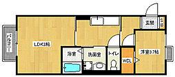 京都府京都市山科区勧修寺瀬戸河原の賃貸アパートの間取り