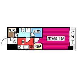 プロシード仙台上杉 3階1Kの間取り