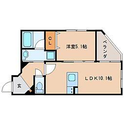 JR東海道本線 静岡駅 徒歩19分の賃貸マンション 2階1LDKの間取り