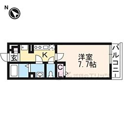 阪急嵐山線 嵐山駅 徒歩7分の賃貸アパート 3階1Kの間取り