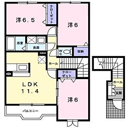 アルドーレB 2階3LDKの間取り