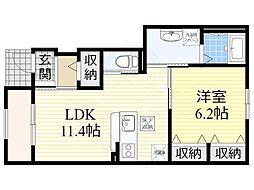 (仮称)栗東市大橋賃貸アパート新築工事 1階1LDKの間取り