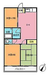 埼玉県北本市宮内2丁目の賃貸アパートの間取り
