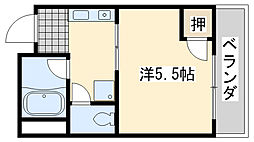 ローブル尾崎 2階1Kの間取り