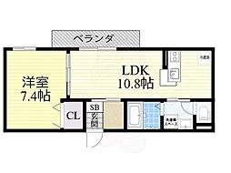 近鉄奈良線 河内花園駅 徒歩11分の賃貸アパート 2階1LDKの間取り