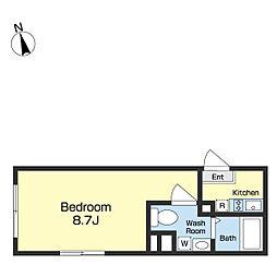 JR京葉線 越中島駅 徒歩8分の賃貸マンション 4階ワンルームの間取り