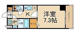 エステムコート京都東寺 朱雀邸 3階1Kの間取り