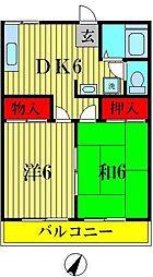 京屋誠コーポ B棟[2階]の間取り
