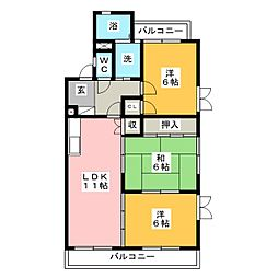 ロワイヤルA(アー)[4階]の間取り