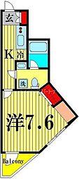 ベルシード西綾瀬 2階1Kの間取り