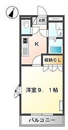 サンモールハイツ ーエイトホームー 2階1Kの間取り
