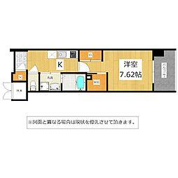 JR鹿児島本線 西小倉駅 徒歩10分の賃貸マンション 7階1Kの間取り