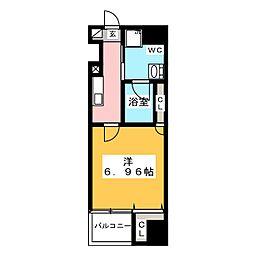 グランカーサ上野入谷 4階1Kの間取り