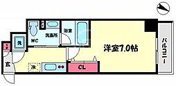 プリエールTAT江戸堀 2階1Kの間取り